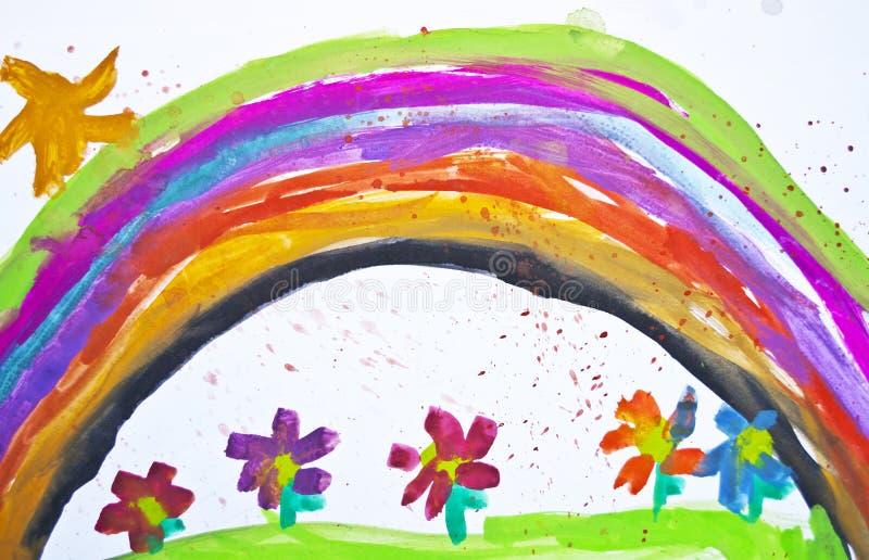 Il disegno del bambino con i fiori e l'arcobaleno variopinto fotografia stock libera da diritti