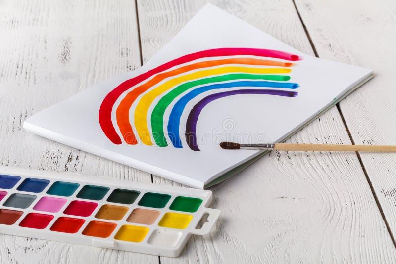 Il disegno del bambino con l'arcobaleno variopinto fotografia stock libera da diritti