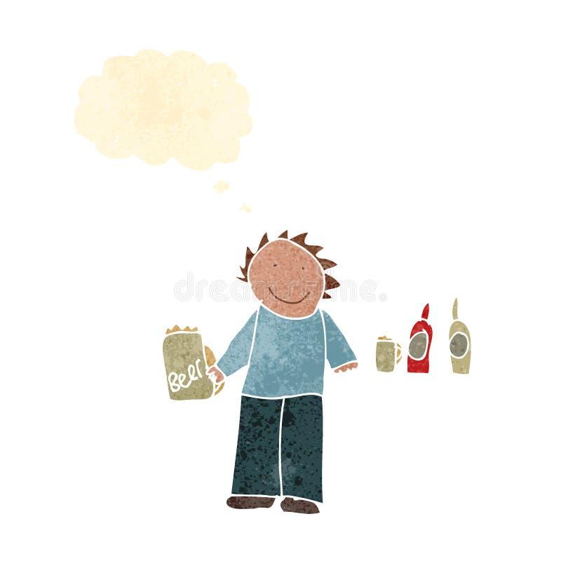 il disegno del bambino di un uomo in pub illustrazione vettoriale