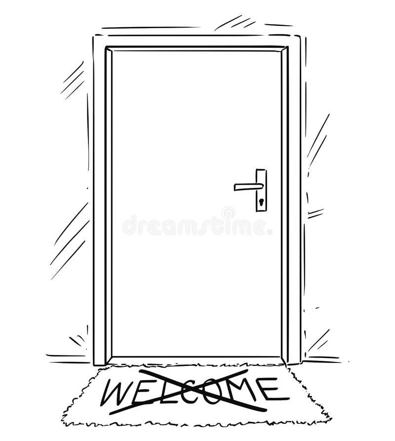 Il disegno del fumetto di a porta chiusa con depenna il testo benvenuto sulla stuoia o sullo zerbino illustrazione di stock