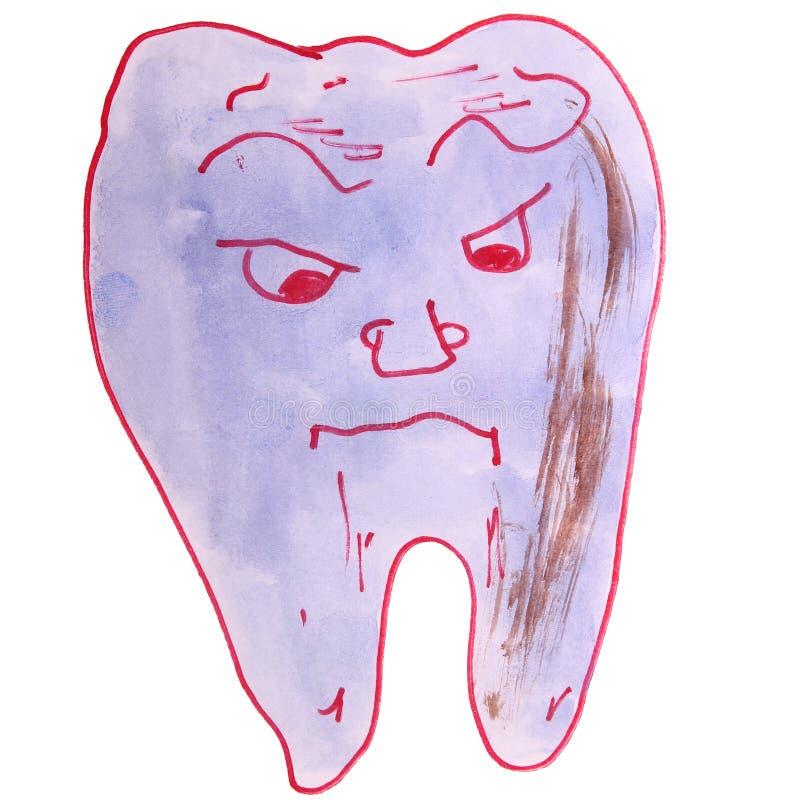 Il disegno dell'acquerello scherza il dente del fumetto su bianco illustrazione vettoriale