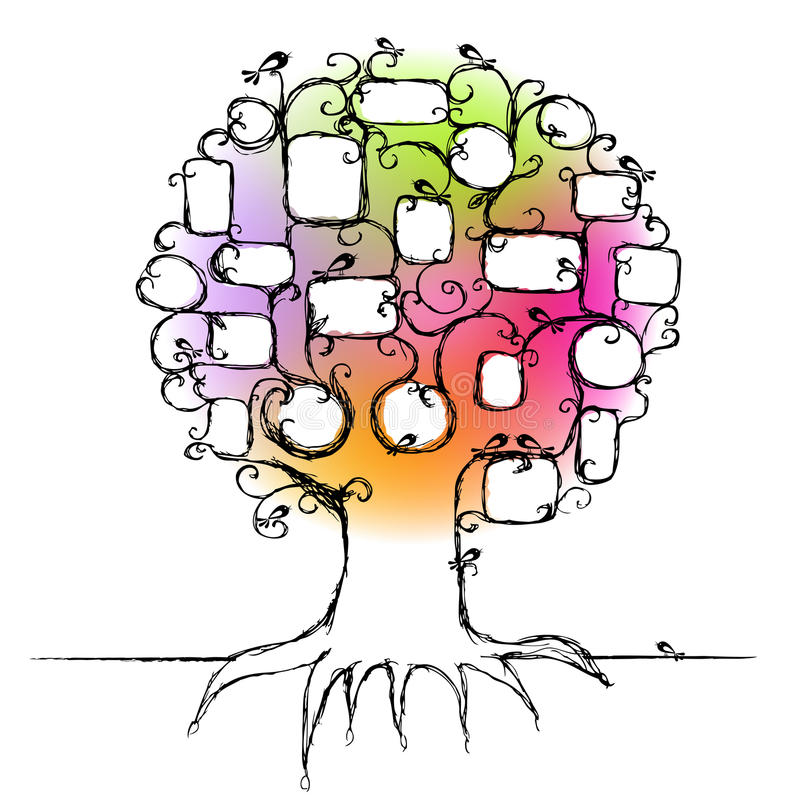 Il disegno dell'albero di famiglia, inserisce le vostre foto illustrazione vettoriale