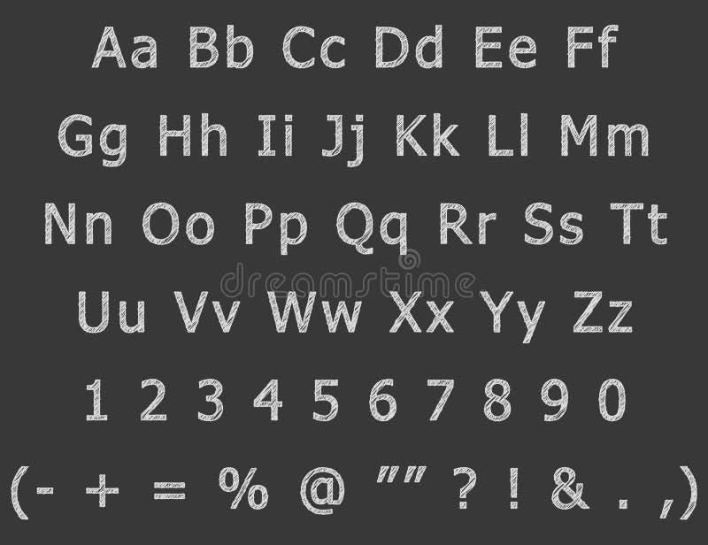 Il disegno della mano del gesso segna l'alfabeto con lettere inglese illustrazione di stock