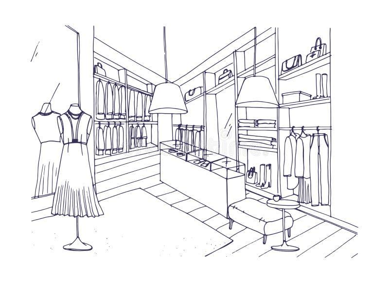Il disegno di profilo dell'interno del negozio dell'abbigliamento alla moda con l'arredamento, le vetrine, manichini si è vestito illustrazione vettoriale