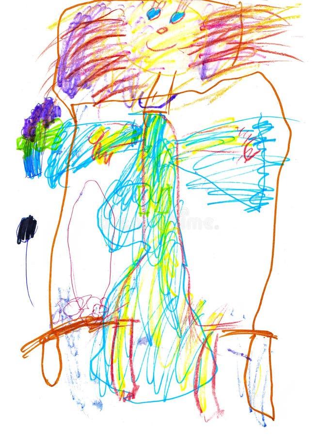 Il disegno di un artista giovane felice di mangiare una ragazza va a letto, matite ed indicatori fotografia stock libera da diritti