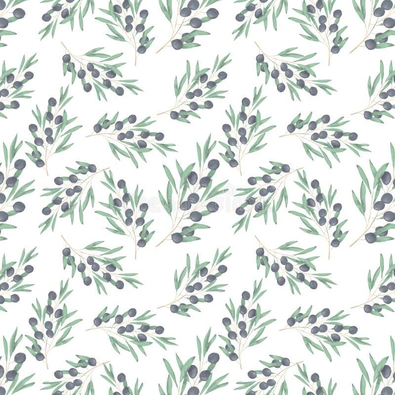 Il disegno digitale dell'acquerello di clipart del modello seamlless verde oliva fiorisce l'illustrazione simile su fondo bianco illustrazione vettoriale