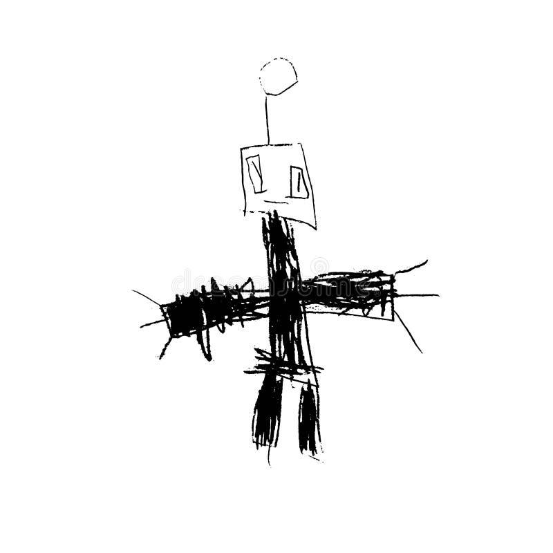 Il disegno infantile disegnato a mano del robot di vettore per i bambini bastona il logo, l'evento infantile, manifesto del grupp illustrazione vettoriale