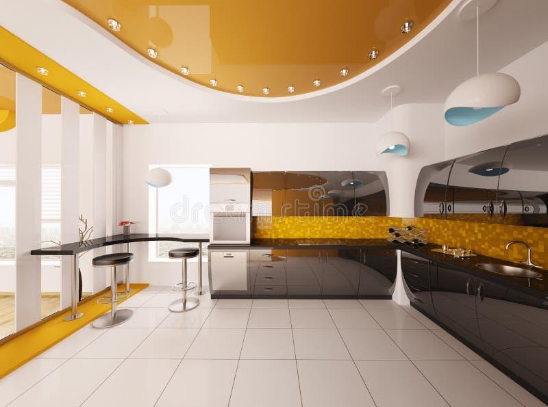 Il disegno interno della cucina moderna 3d rende illustrazione di stock