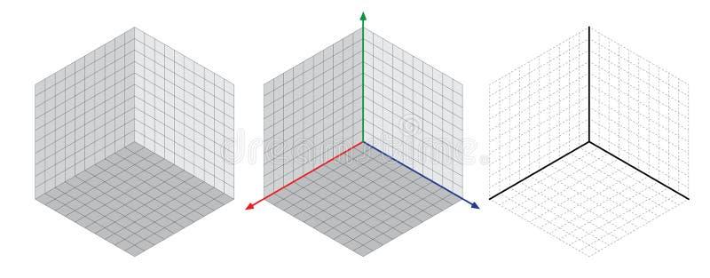 Il disegno isometrico un degreesangle trenta si applica ai suoi lati Il cubo di fronte a Vettore isometrico di griglia royalty illustrazione gratis