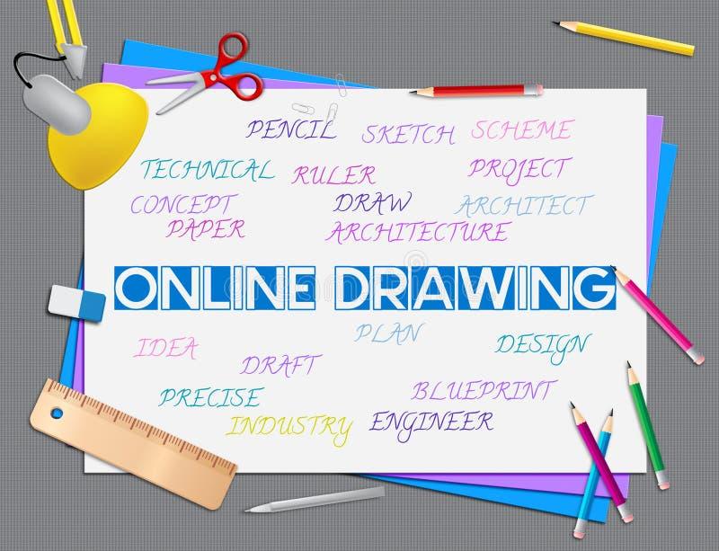 Il disegno mostra il sito Web e creativo online illustrazione vettoriale