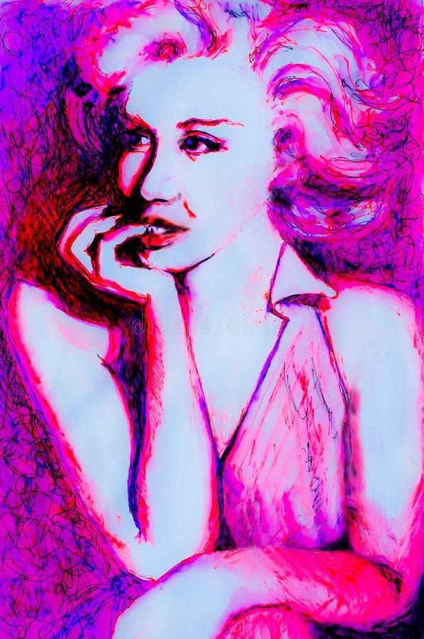 Il disegno pensieroso dell'inchiostro di signora degli anni 50 nel rosa al neon ha ispirato dalle immagini di Marilyn Monroe fotografie stock