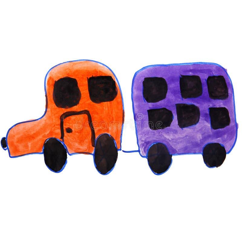 Il disegno scherza l'automobile dell'acquerello, fumetto del rimorchio sulla a royalty illustrazione gratis