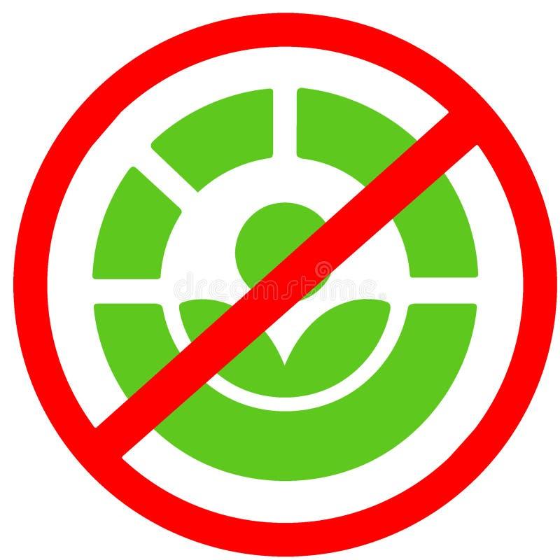 Il disenfection non permesso di processo di Radura per il segnale stradale circolare rosso dell'alimento Simbolo o icona dell'ali illustrazione di stock