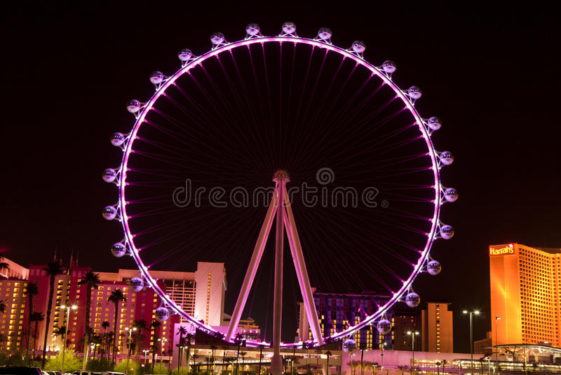 Il dissoluto Ferris Wheel a Las Vegas, Nevada (notte) immagini stock