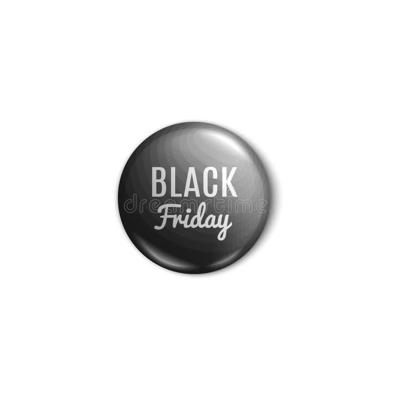 Il distintivo lucido di vendita di Black Friday o l'illustrazione realistica di vettore del bottone 3d del perno ha isolato illustrazione vettoriale