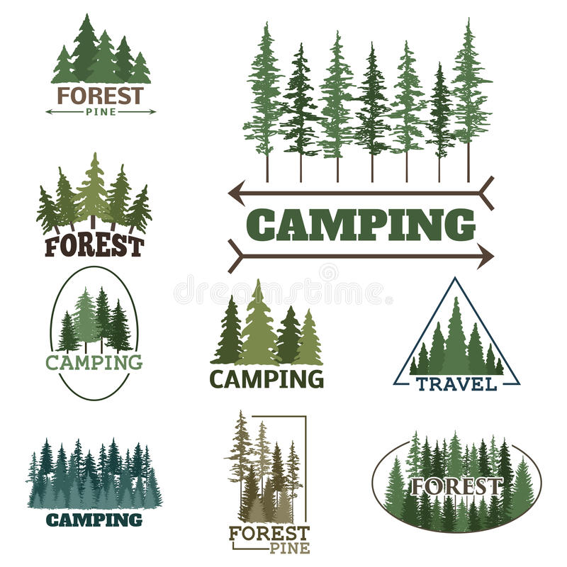 Il distintivo naturale conifero di logo di viaggio dell'albero di verde della siluetta del distintivo all'aperto della foresta co illustrazione di stock