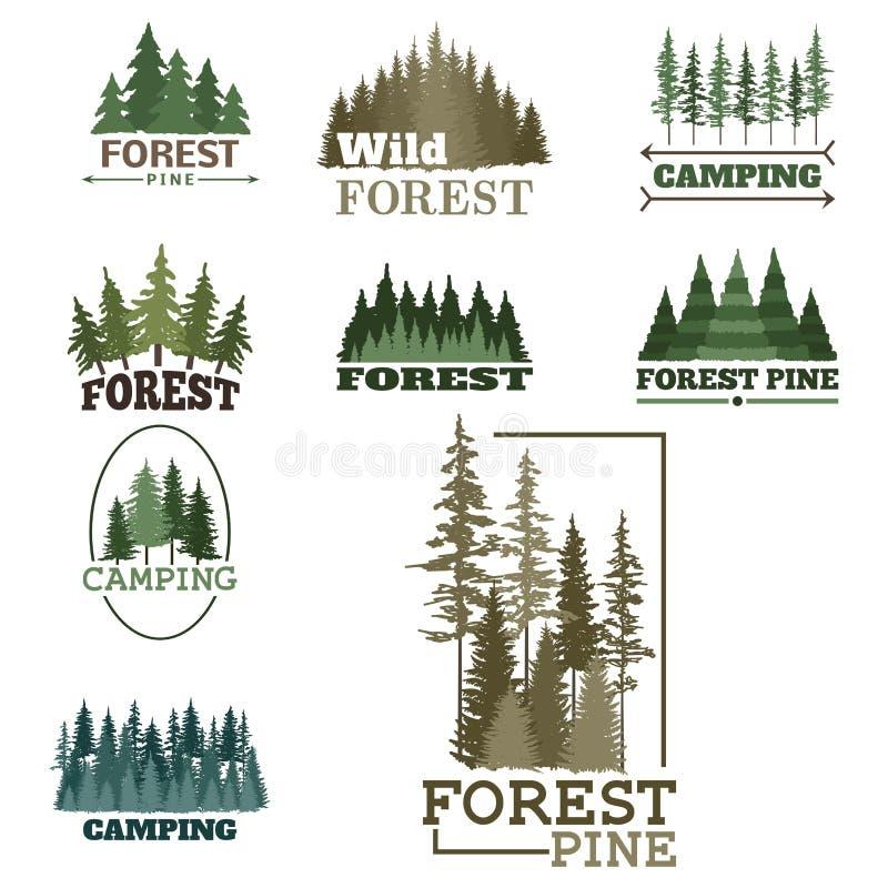 Il distintivo naturale conifero di logo di viaggio dell'albero di verde della siluetta del distintivo all'aperto della foresta co royalty illustrazione gratis