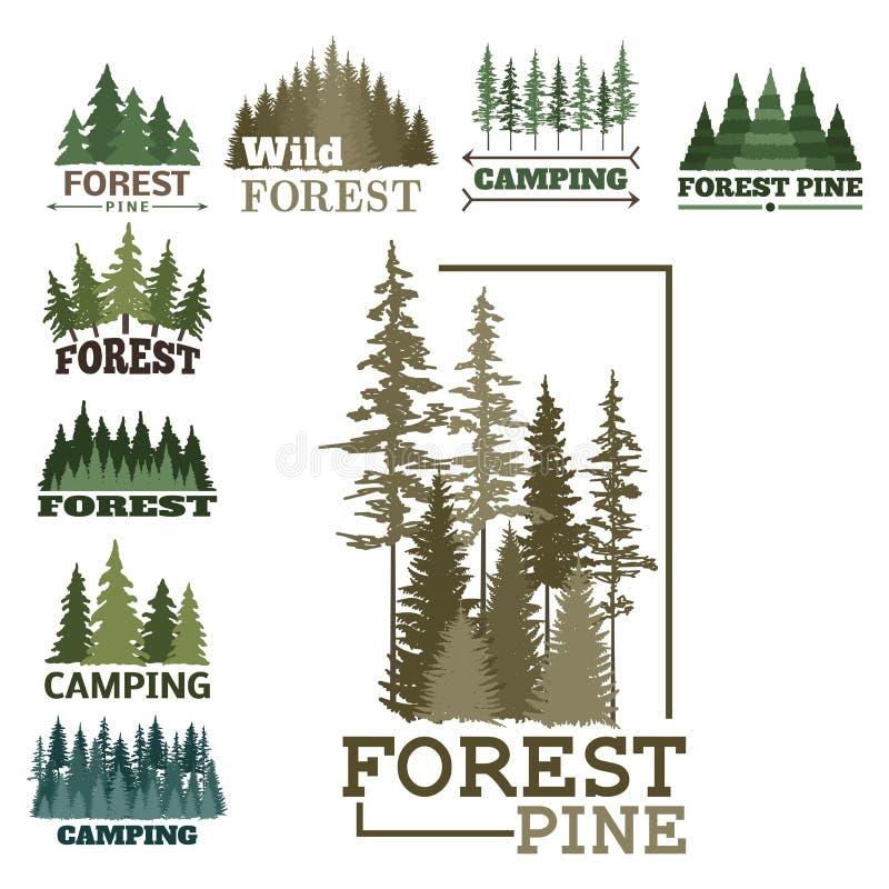 Il distintivo naturale conifero di logo di viaggio dell'albero di verde della siluetta del distintivo all'aperto della foresta co illustrazione vettoriale
