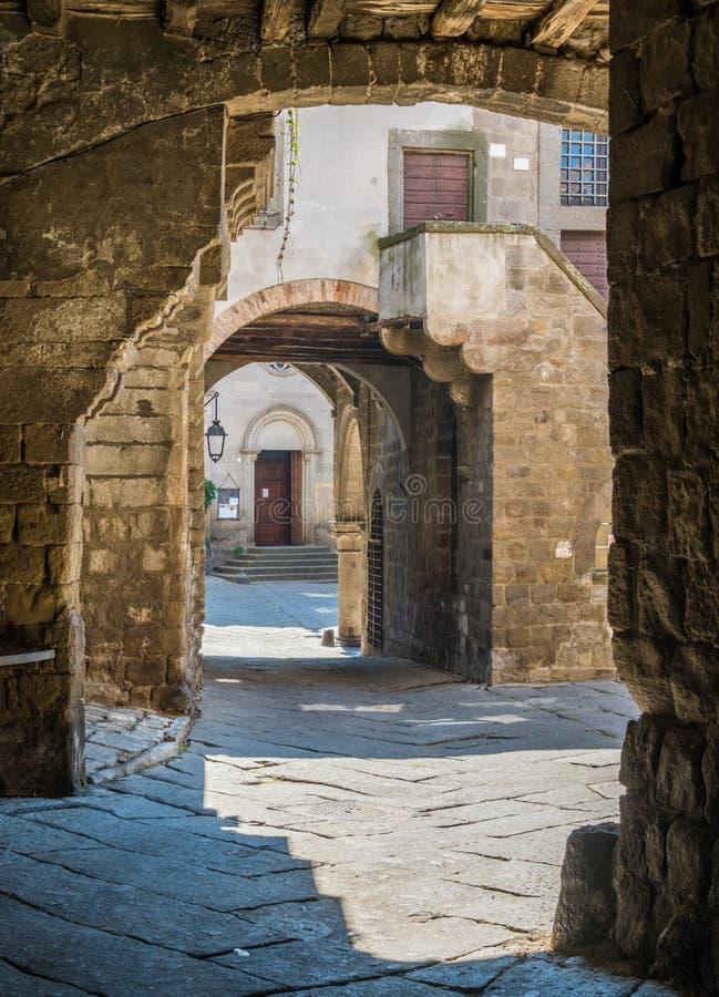 Il distretto medievale pittoresco di San Pellegrino a Viterbo, Lazio, Italia centrale immagini stock libere da diritti