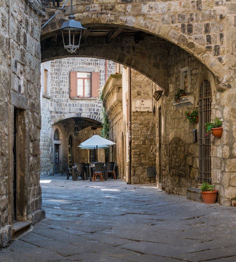 Il distretto medievale pittoresco di San Pellegrino a Viterbo, Lazio, Italia centrale fotografia stock
