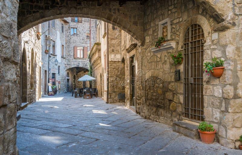 Il distretto medievale pittoresco di San Pellegrino a Viterbo, Lazio, Italia centrale fotografia stock libera da diritti