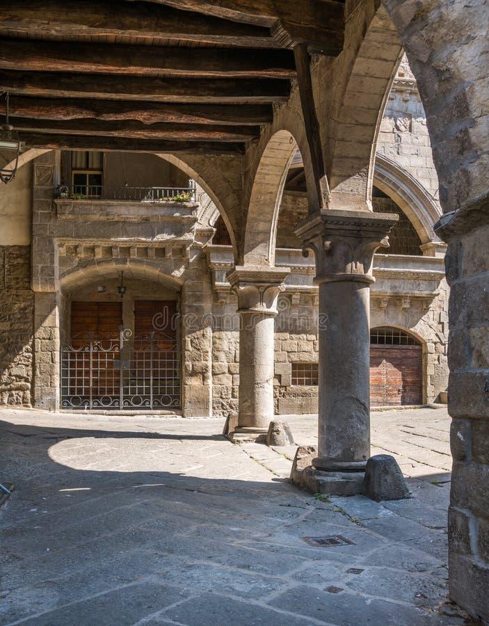 Il distretto medievale pittoresco di San Pellegrino a Viterbo, Lazio, Italia centrale fotografie stock libere da diritti