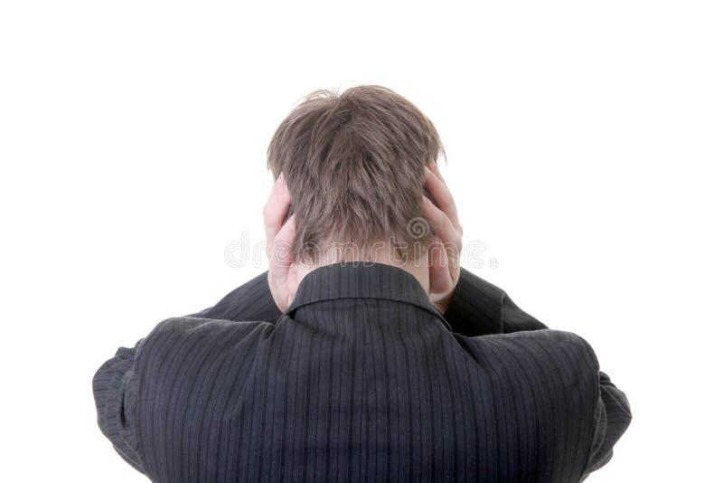 Il disturbo in orecchie ascolta uomo d'affari delle barrette immagini stock libere da diritti