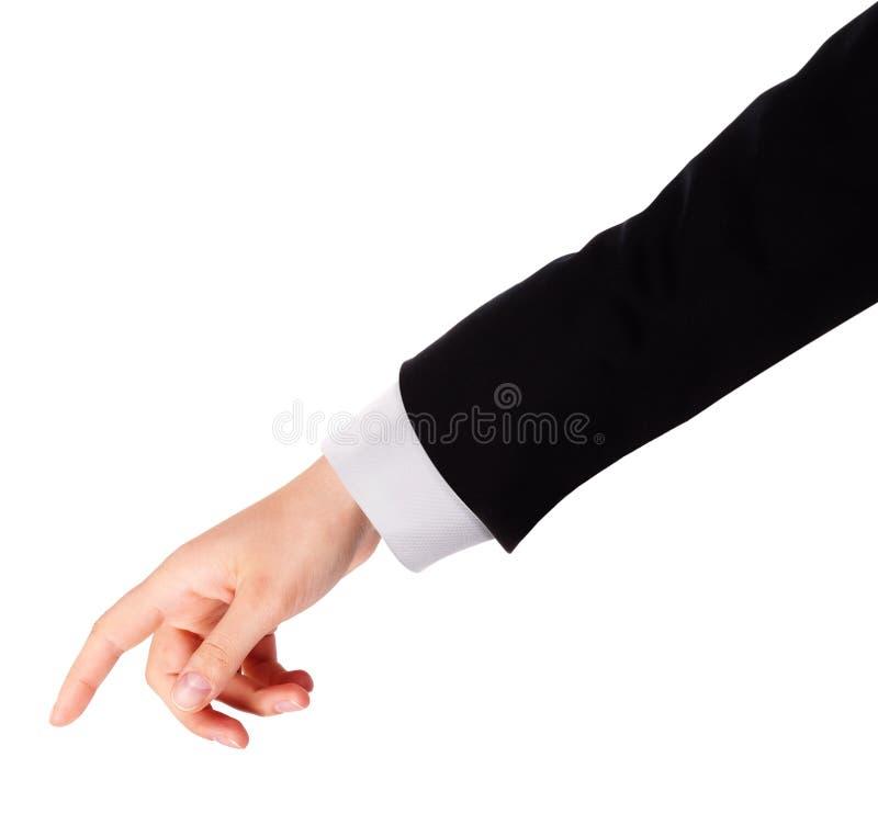 Il dito dell'uomo d'affari che indica o che tocca fotografia stock