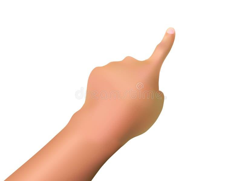 Il dito indice che tocca o che indica qualcosa, la pendenza Mesh Hand Gesture, illustrazione realistica di vettore illustrazione di stock