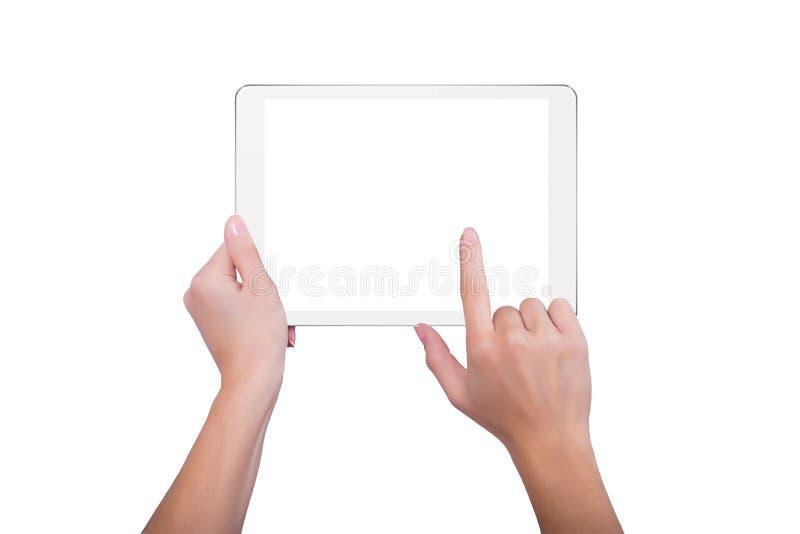 Il dito tocca la compressa immagini stock libere da diritti