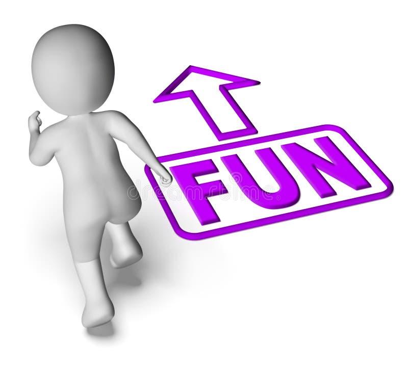 Il divertimento ed il carattere corrente 3D mostra cominciare o il partito di divertimento illustrazione di stock