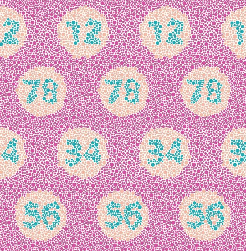 Il divertimento ispirato prova di colore del daltonismo ha punteggiato il modello senza cuciture di vettore con i numeri creati d illustrazione vettoriale