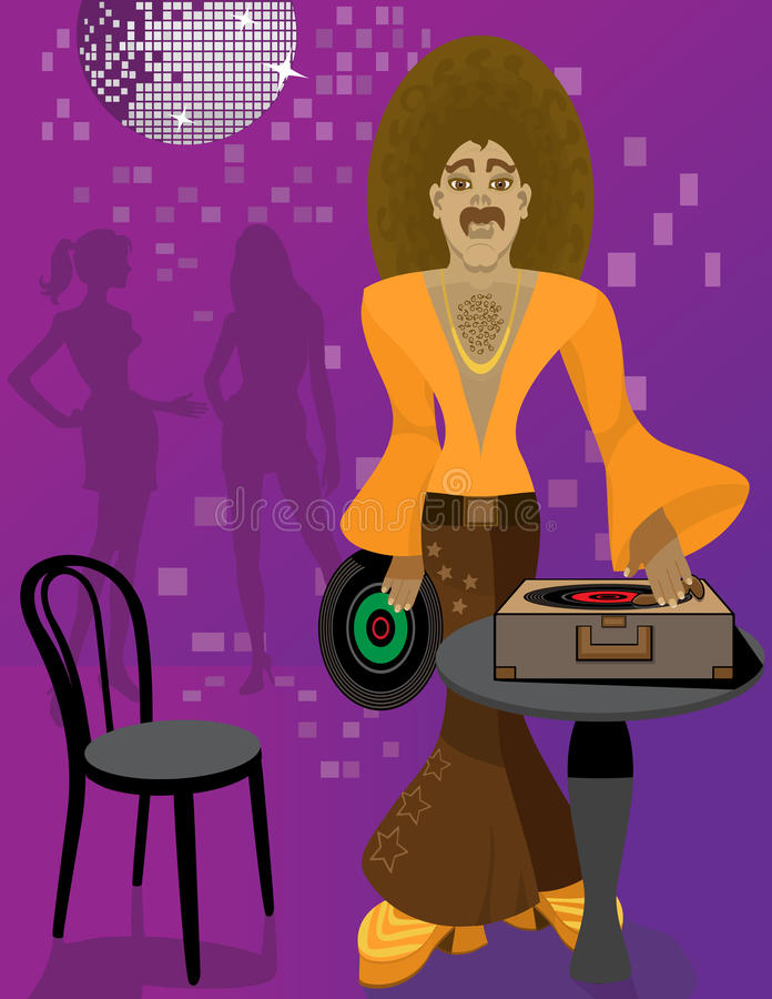 Il DJ che gioca il vinile LP registra i pantaloni della Bell Botom illustrazione di stock