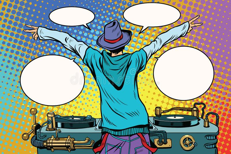 Il DJ fa festa il pannello del vinile, vista da dietro royalty illustrazione gratis