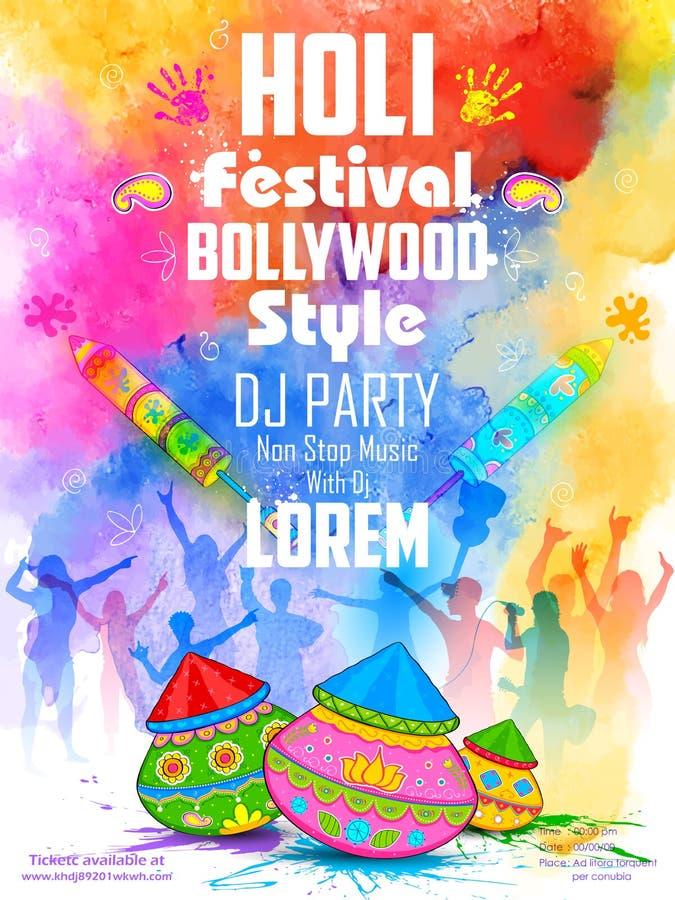 Il DJ fa festa l'insegna per la celebrazione di Holi royalty illustrazione gratis