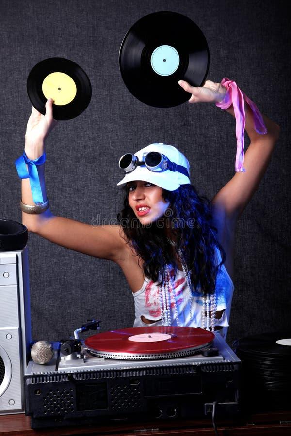 Il DJ freddo nell'azione fotografia stock