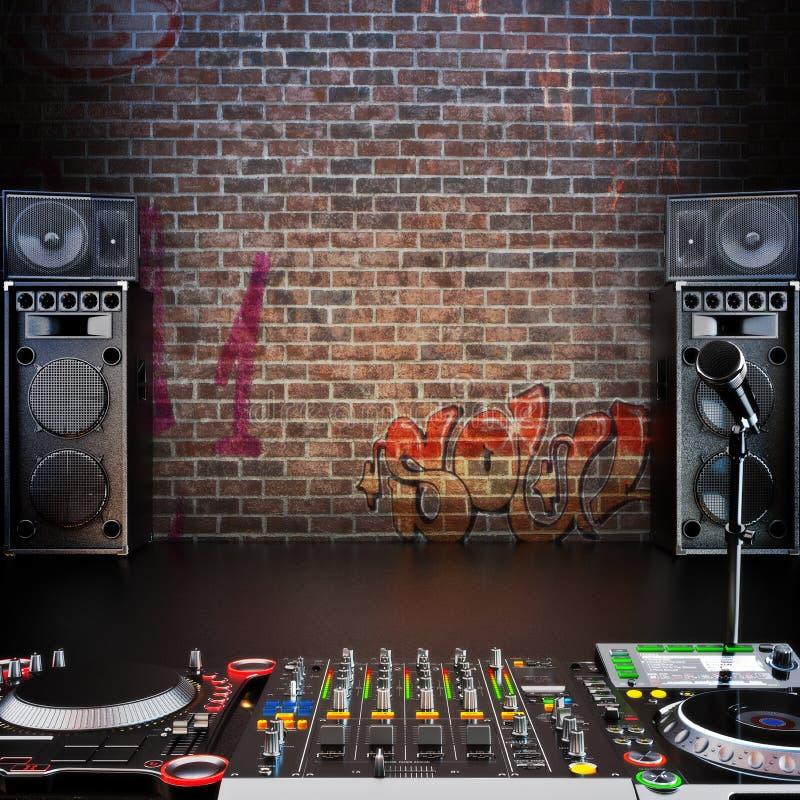 Il DJ R&B, rap, fondo di musica pop con il microfono fotografie stock