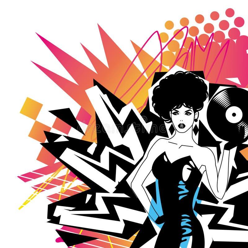 Il DJ sexy con vinile illustrazione vettoriale