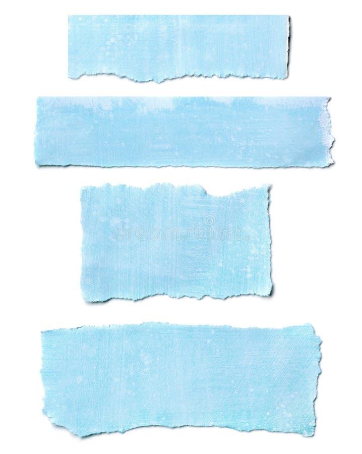 Il documento blu strappa la raccolta fotografie stock libere da diritti