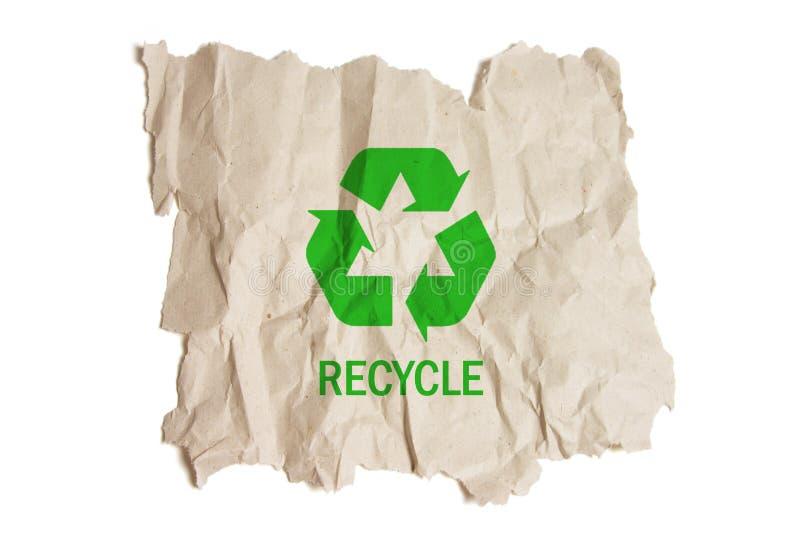 Il documento di Brown con ricicla il simbolo fotografie stock