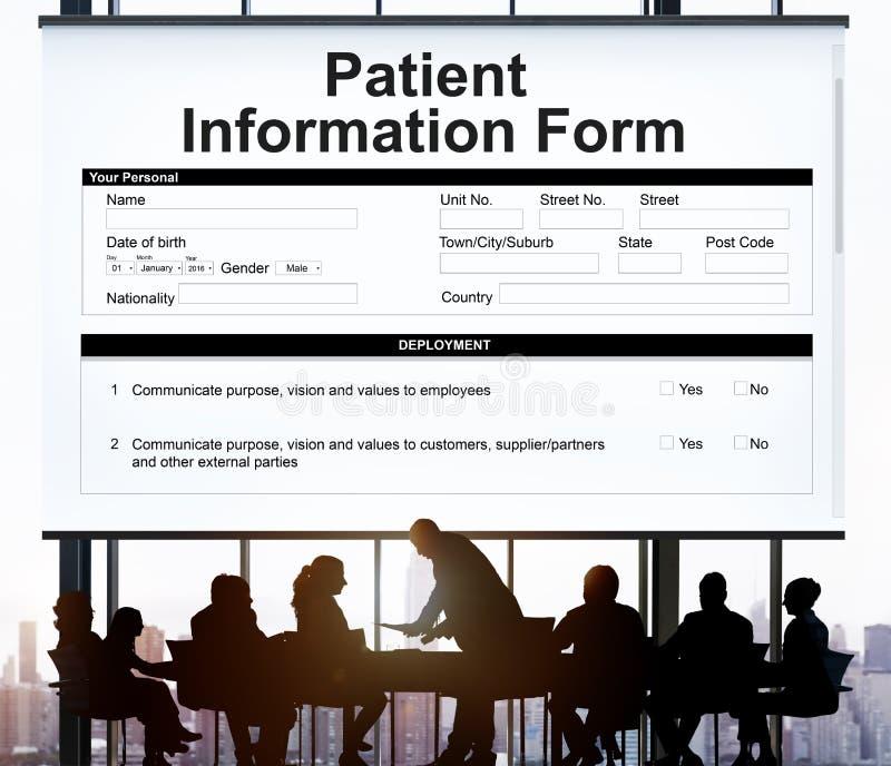 Il documento paziente del formulario informativo illustra in dettaglio il concetto immagini stock libere da diritti