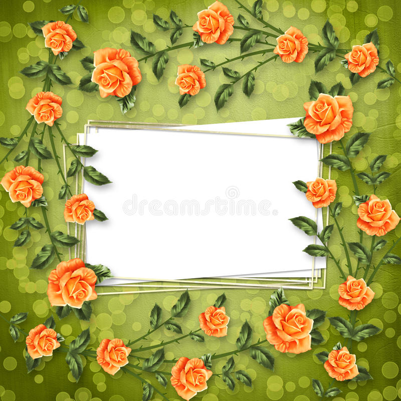 Il documento per la congratulazione con la pittura è aumentato illustrazione di stock