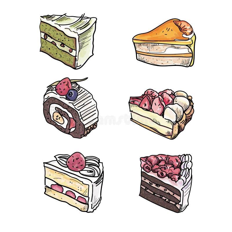 Il dolce agglutina i pezzi delle fette messi illustrazione di stock