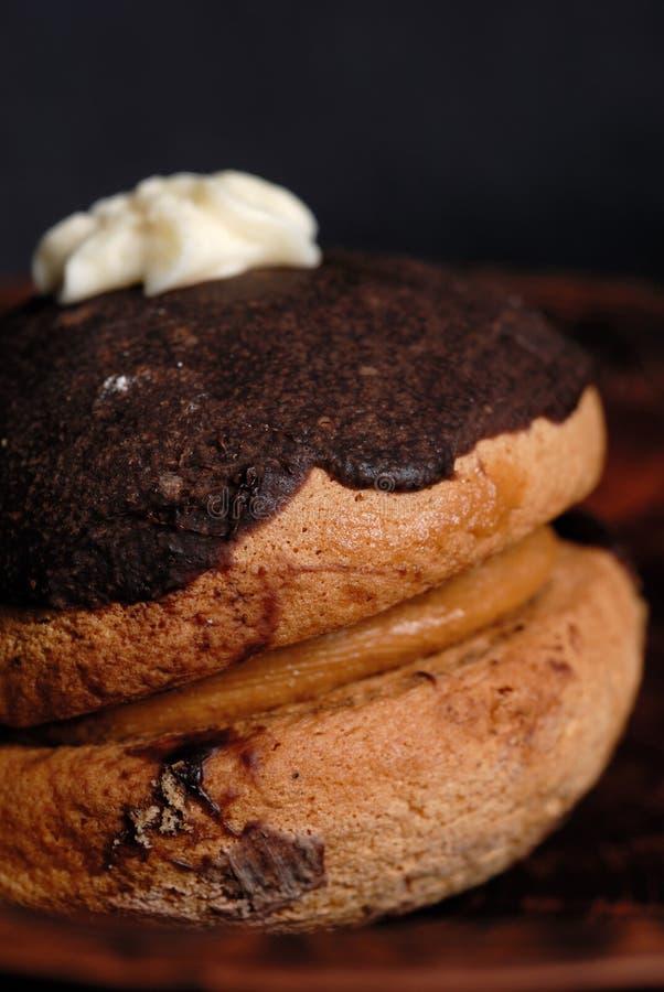 Il dolce con il materiale da otturazione del dado è versato con la glassa del cioccolato immagini stock libere da diritti