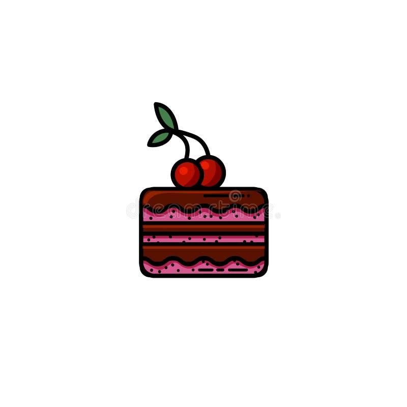Il dolce di cioccolato delizioso con una ciliegia su completa l'icona piana royalty illustrazione gratis