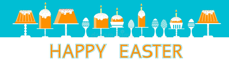 Il dolce di Pasqua con le uova decorate candela ha messo l'insegna felice di orizzontale di festa dell'alimento tradizionale illustrazione di stock
