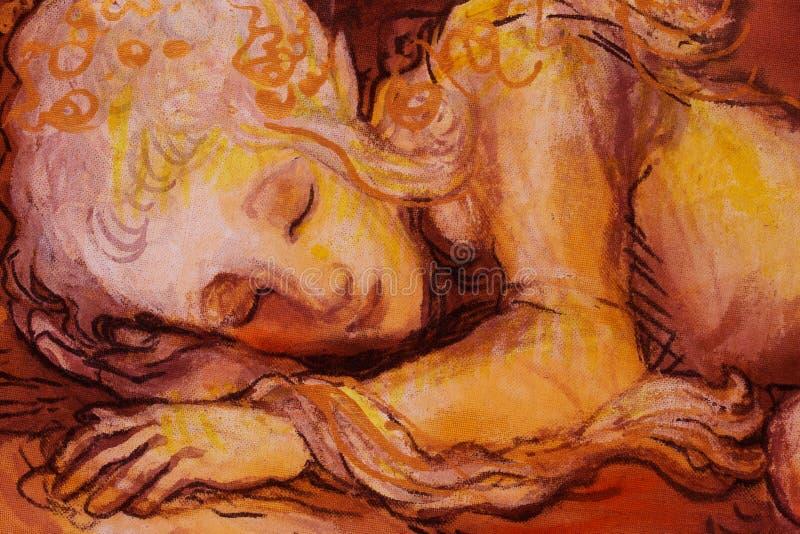 Il dolce elven i sogni, il piccolo collage dipinto a mano e del computer addormentato del fatato, immagine stock libera da diritti
