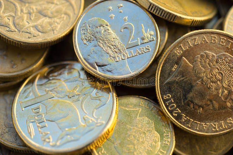 Il dollaro australiano conia la macro immagini stock