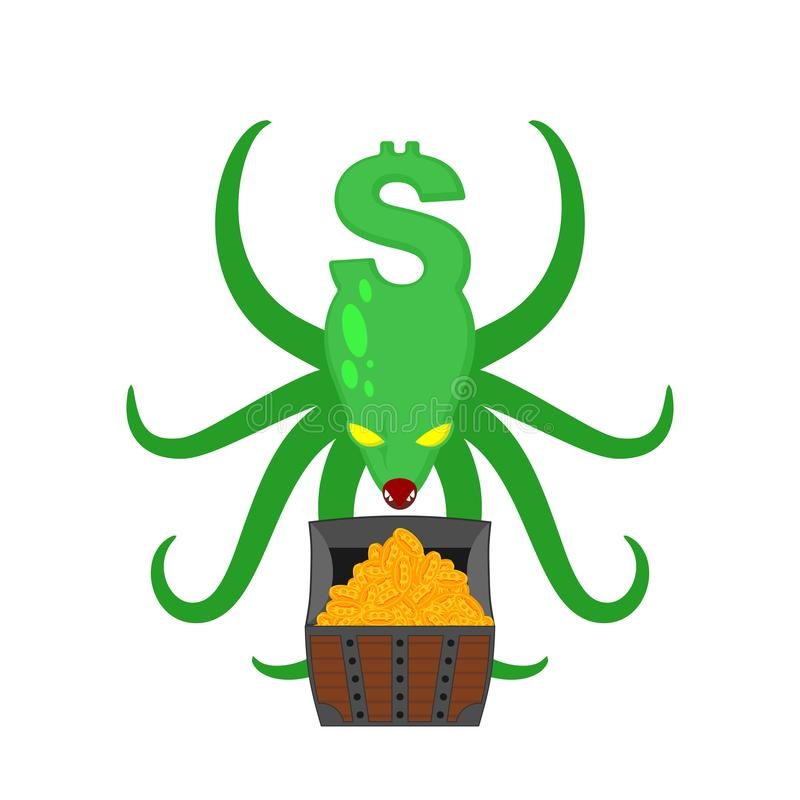 Il dollaro del mostro protegge il petto dei bitcoins Vettore del polipo dei soldi illustrazione vettoriale