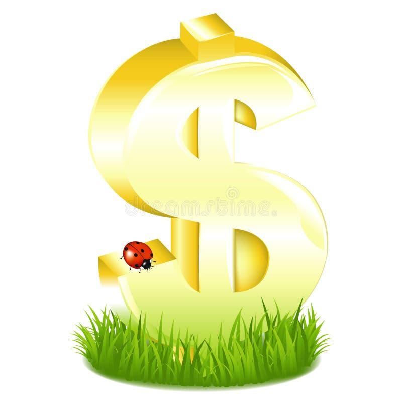 Il dollaro dorato firma dentro l erba con